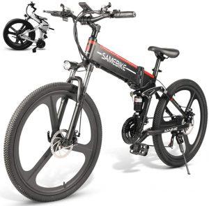 LOKE Electric Bike 26 Electric Folding Bike Folding Ebike with Lithium-Ion Battery
