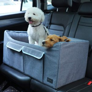Petsfit Dog Car Booster Seat for Medium to Large Dogs with 2 Tethers