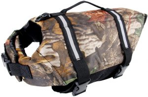 amo Pet Life Preserver Jacket Camouflage Dog Life Vest with Adjustable Buckles