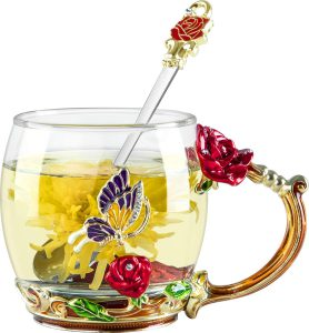 COAWG Glass Tea Cup with Spoon, Enamel Hand Made Red Rose Flower and Diamond Colorful Butterfly Clear Glass Coffee Mugs Tea Cup Gruaduation Girlfriend mum
