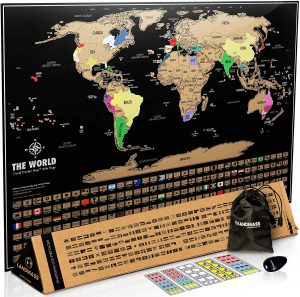 Landmass Scratch Off Map Of The World - Black Scratch Off World Map Poster with Flags