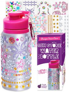Purple Ladybug Decorate Your Own Water Bottle for Girls with Tons of Rhinestone Glitter Gem Stickers