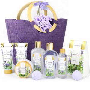 Spa Luxetique Gift Baskets for Women, Lavender Bath Set