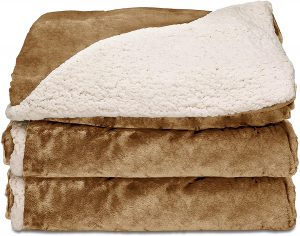 Sunbeam Heated Throw Blanket Reversible Sherpa Royal Mink 3 Heat Settings Honey
