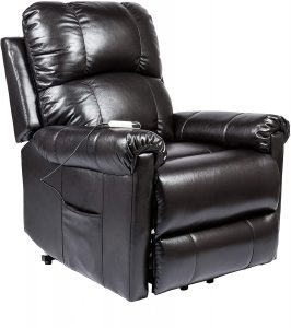 Marabell Power Lift Chair Electric Recliner with Remote Control - Faux Leather (Black)